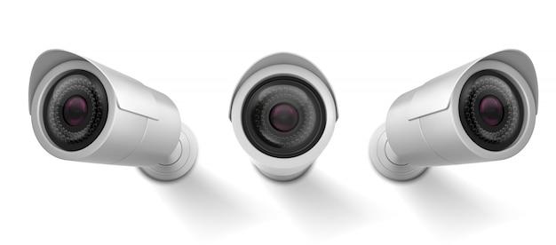 Überwachungskamera, cctv-videokamera, straßenbeobachtungsausrüstung vorder- und seitenwinkelansicht. Kostenlosen Vektoren