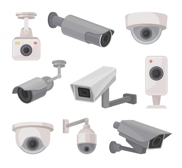 Überwachungskamera draußen und drinnen. videoüberwachung. Premium Vektoren