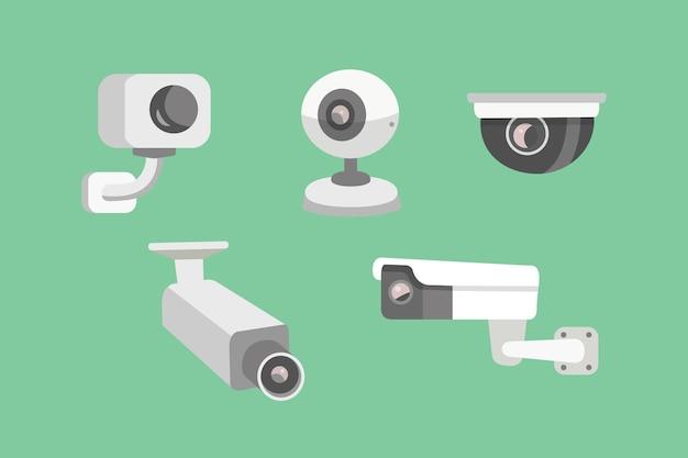 Überwachungskamera einstellen. cctv-karikaturillustration. sicherheit und beobachtung. Premium Vektoren