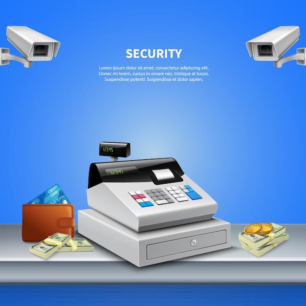 Überwachungskamera realistischer hintergrund Kostenlosen Vektoren
