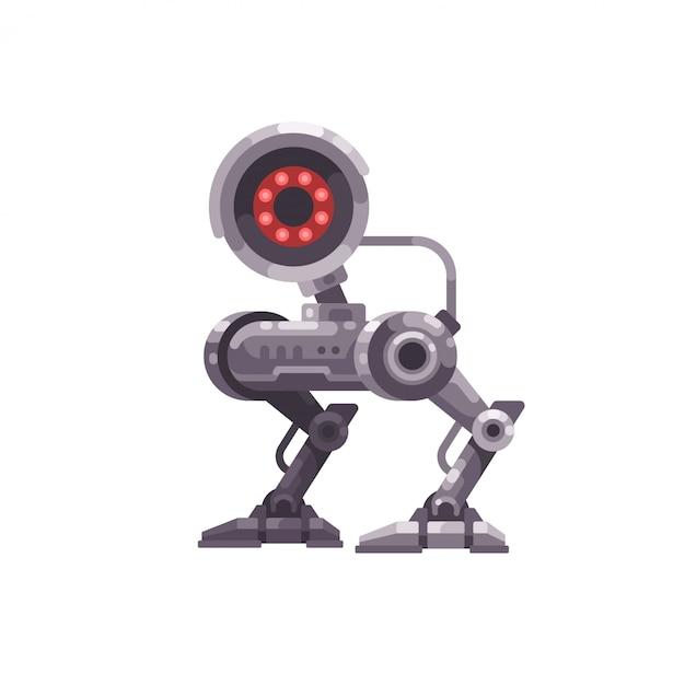 Überwachungskameraroboter flache abbildung Premium Vektoren
