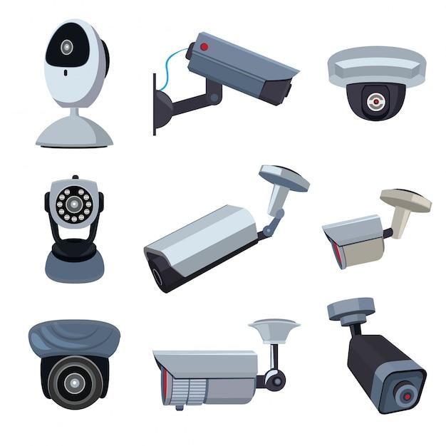 Überwachungskameras, cctv-systeme Premium Vektoren