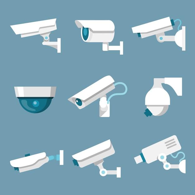 Überwachungskameras eingestellt Premium Vektoren