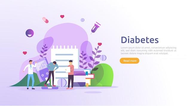 Überwachungskonzept für diabetes mellitus. blutspiegel im blutzuckermessgerät. insulininjektionsbehandlung und diätkontrolltherapie. illustrationsvorlage für web-landingpage Premium Vektoren