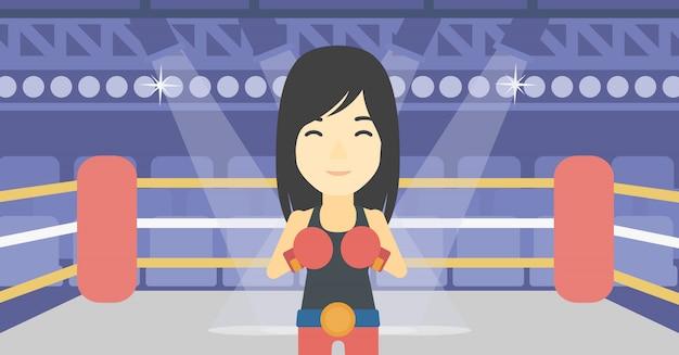 Überzeugter boxer in der handschuhvektorillustration. Premium Vektoren
