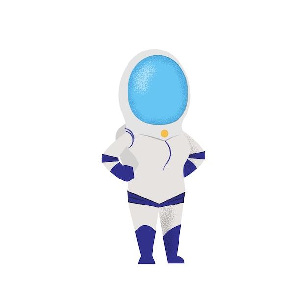 Überzeugter weiblicher kosmonaut, der mit den händen auf hüften steht. Kostenlosen Vektoren