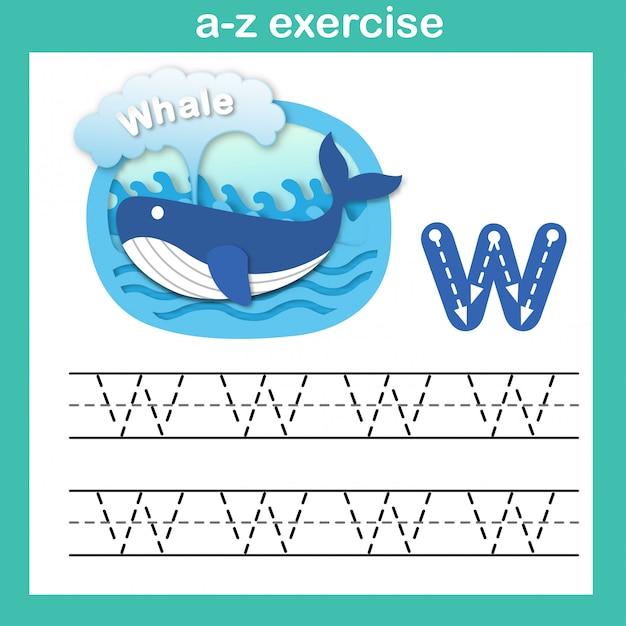 Übung des alphabetbuchstaben w-wals, papier schnitt konzeptvektorillustration Premium Vektoren