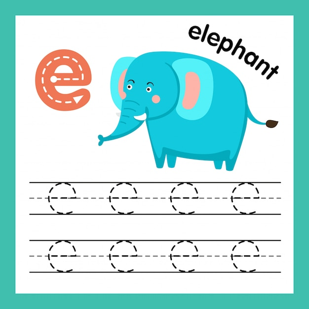 Übung des alphabetes e mit karikaturvokabularillustration Premium Vektoren