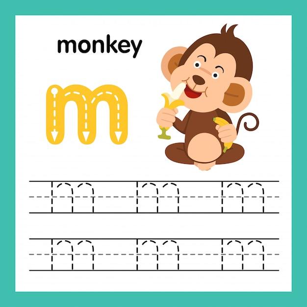 Übung des alphabetes m mit karikaturvokabularillustration Premium Vektoren