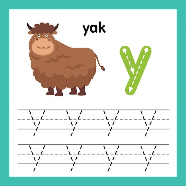 Übung des alphabets a mit karikaturvokabularillustration, vektor Premium Vektoren