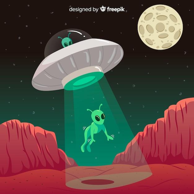 Ufo abduktionskonzept mit flachem design Kostenlosen Vektoren