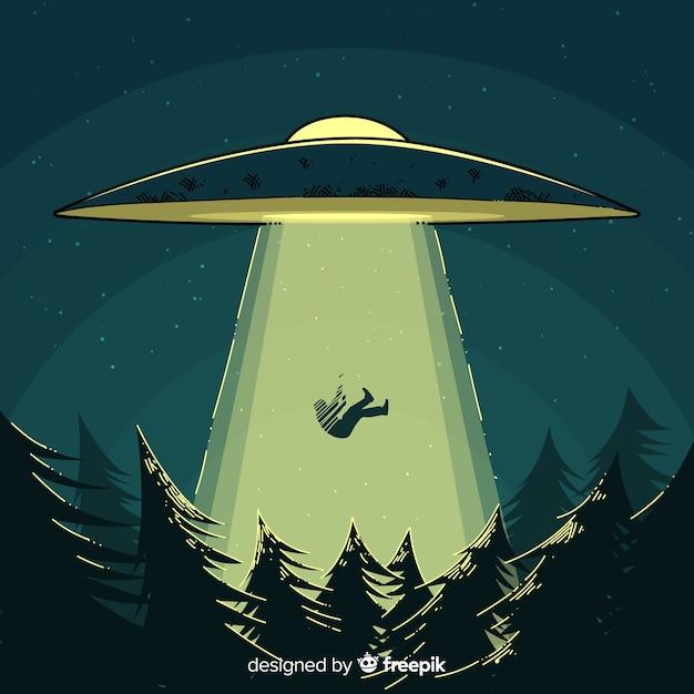 Ufo-abduktionskonzept mit hand gezeichneter art Kostenlosen Vektoren