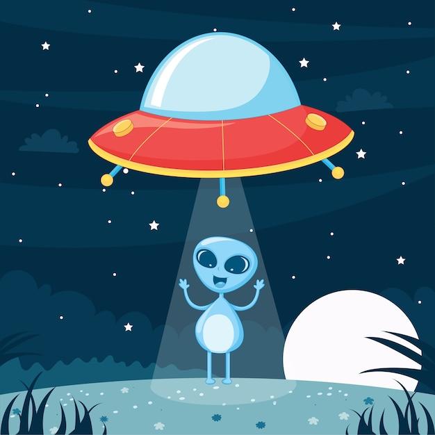 Ufo alien Premium Vektoren