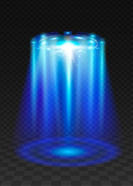 Ufo blauer lichtstrahl. Premium Vektoren