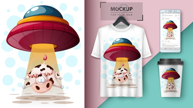 Ufo, kuh. t-shirt design Premium Vektoren