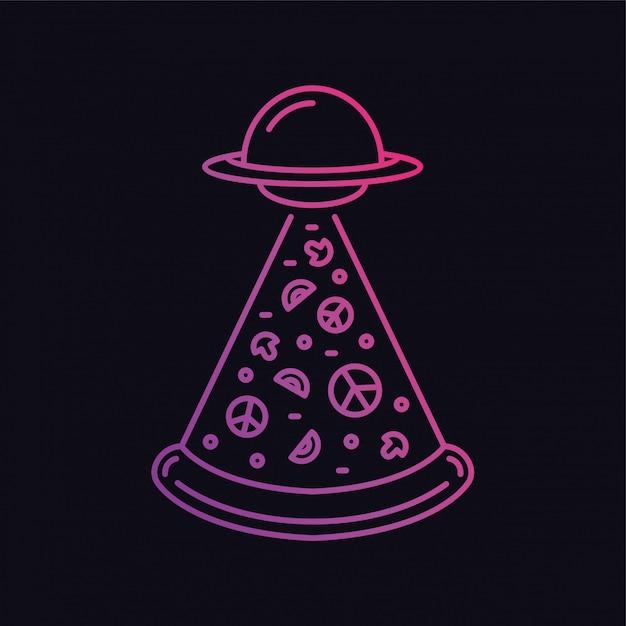 Ufo pizza Premium Vektoren