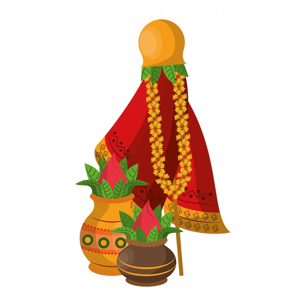 Ugadi festival bietet pot cartoons an Premium Vektoren