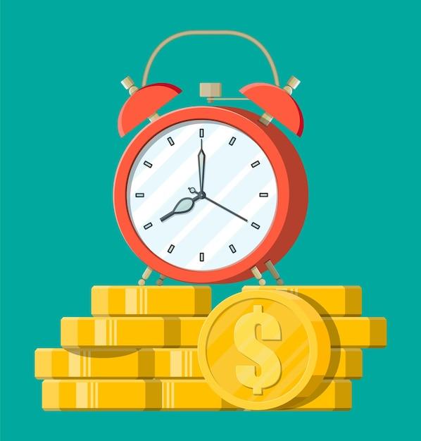 Uhr, goldene dollarmünzen. jährliche einnahmen, finanzielle investitionen, ersparnisse, bankeinlagen, zukünftige einnahmen, geldleistungen. zeit ist geldkonzept. Premium Vektoren