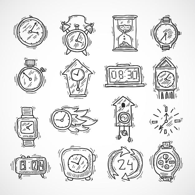 Uhr icons set Kostenlosen Vektoren