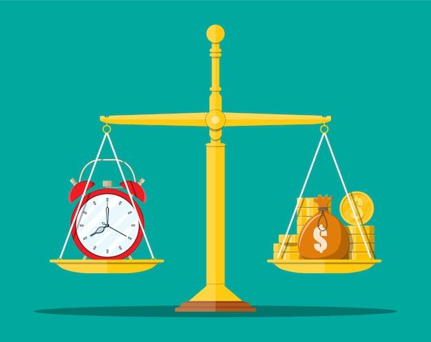 Uhr und goldene münzen auf waage. jährliche einnahmen, finanzielle investitionen, ersparnisse, bankeinlagen, zukünftige einnahmen, geldleistungen. zeit ist geldkonzept. im flachen stil Premium Vektoren