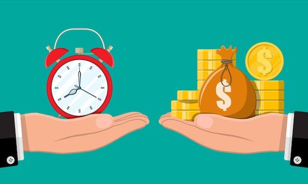 Uhr und goldene münzen in zeigern. Premium Vektoren