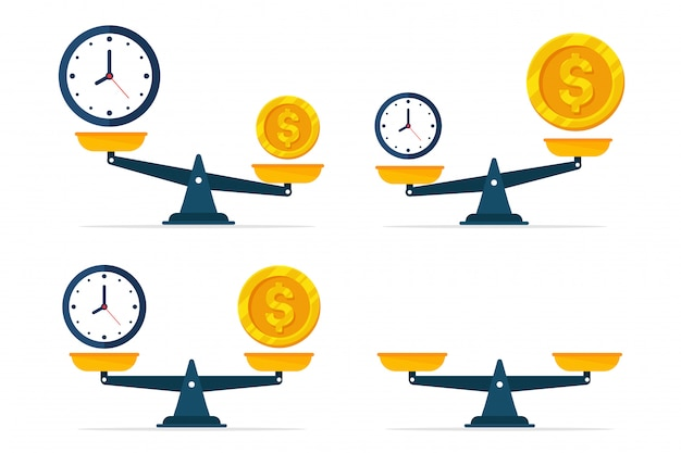 Uhren und geld sind auf der waage. Premium Vektoren