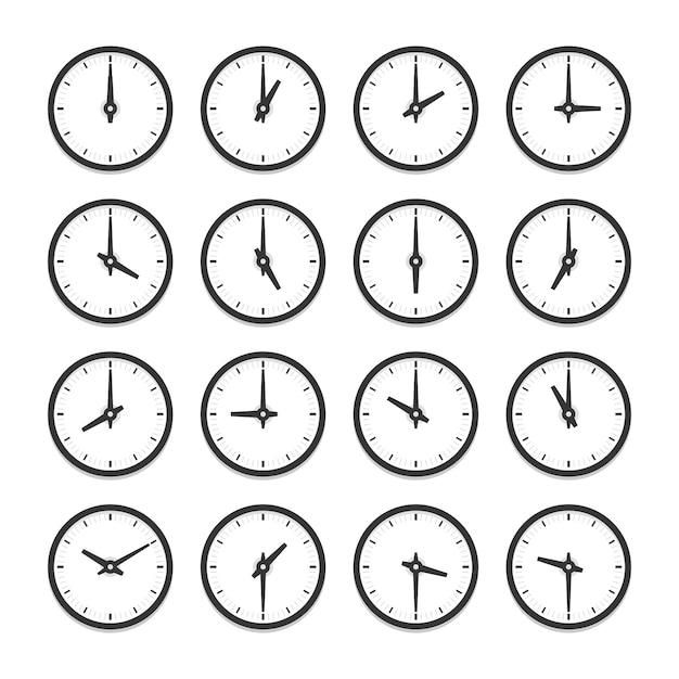 Uhrensatz für jeden stundensymbolsatz. isolierte illustration auf weißem hintergrund Premium Vektoren
