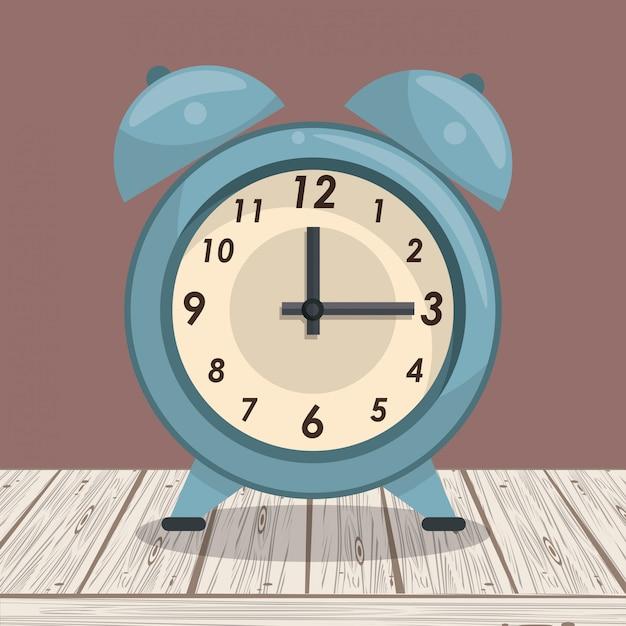 Uhrglockenalarm auf tabelle Premium Vektoren