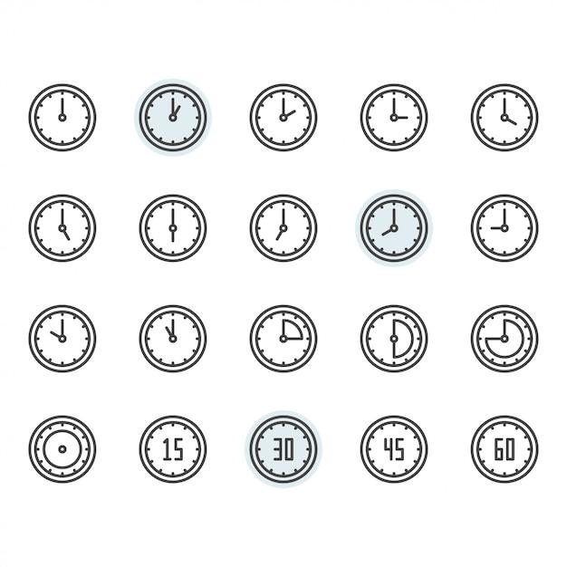 Uhrzeit- und uhrensymbol und symbolsatz im umriss Premium Vektoren