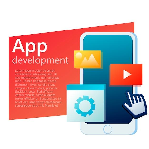 Ui app design handy banner Kostenlosen Vektoren