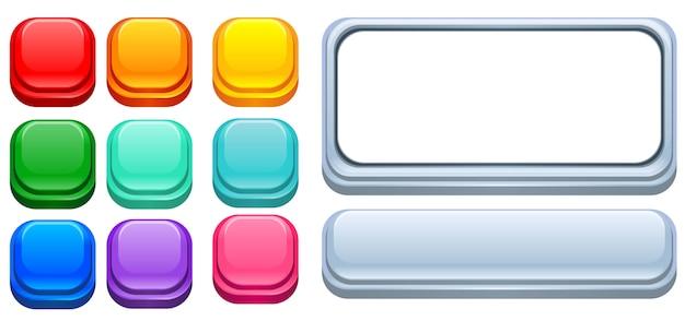Ui-design bunte glänzende tasten Premium Vektoren