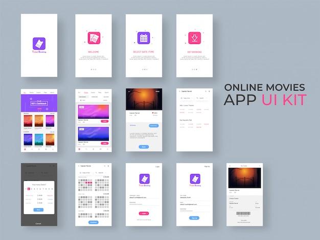 Ui-kit für online-film-apps für responsive mobile apps Premium Vektoren