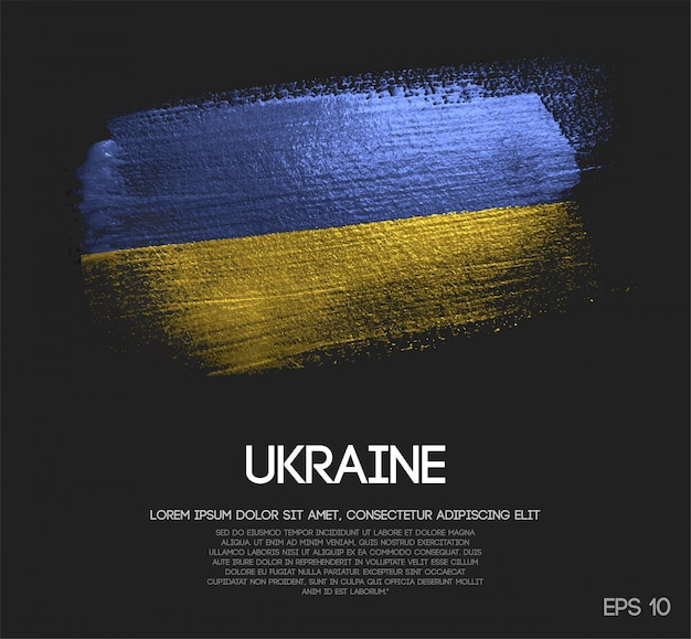 Ukraine flagge aus glitzer sparkle pinsel farbe Premium Vektoren
