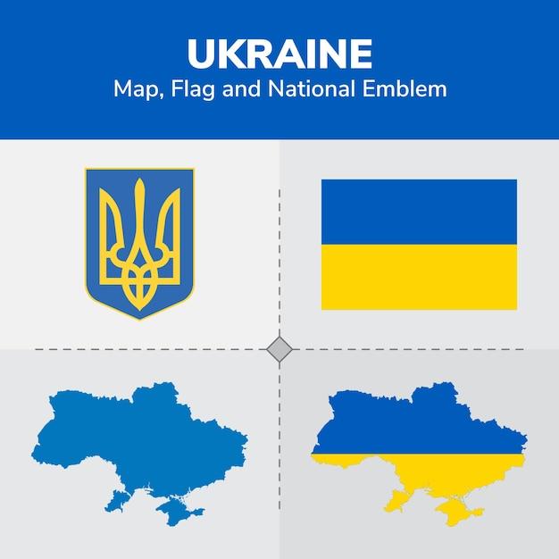 Ukraine karte, flagge und national emblem Premium Vektoren
