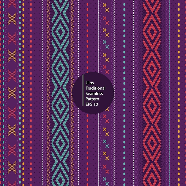 Ulos traditionellen batik aus nord-sumatera indonesien nahtlose bunte muster hintergrund Premium Vektoren