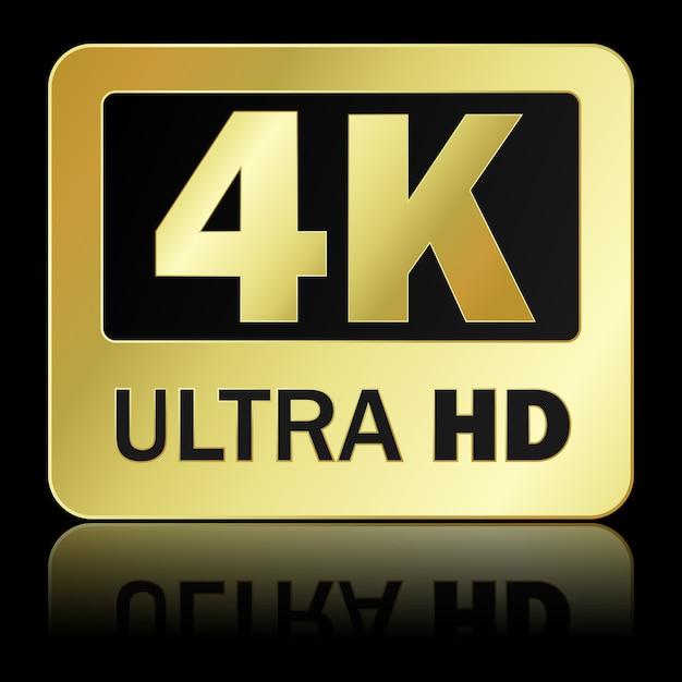 Ultra hd zeichen 4k mit reflexion auf schwarzem hintergrund Premium Vektoren