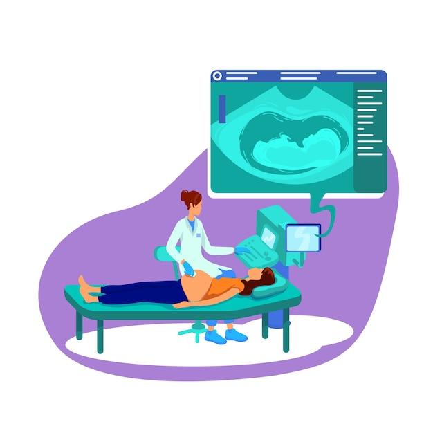 Ultraschall für flache konzeptillustration der schwangeren frau Premium Vektoren