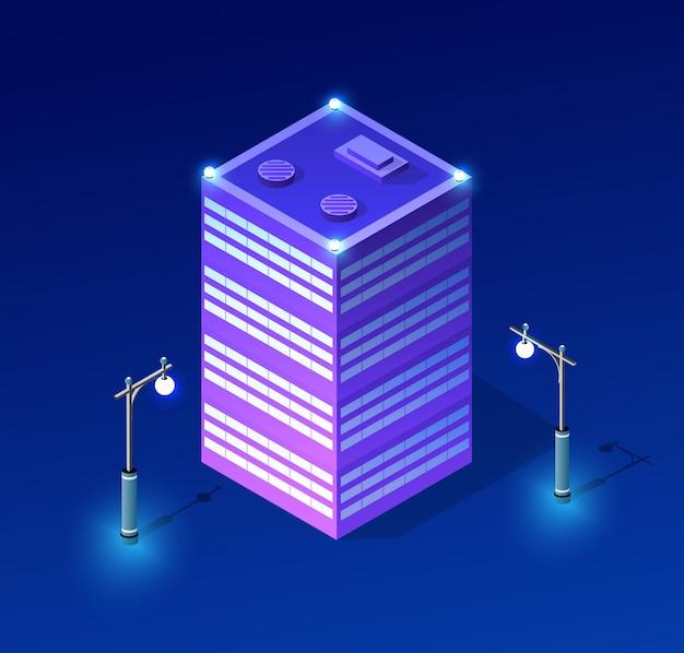 Ultraviolette architektur des nachtstadtbilds Premium Vektoren