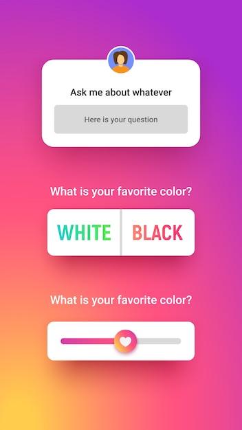 Umfragefenster in 3 verschiedenen stilen, eingaben beantworten, option und schieberegler auswählen. storie quiz für social media. Premium Vektoren