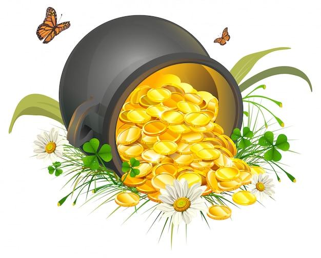 Umgedrehte goldschatzmünzen. kessel aus gold Premium Vektoren