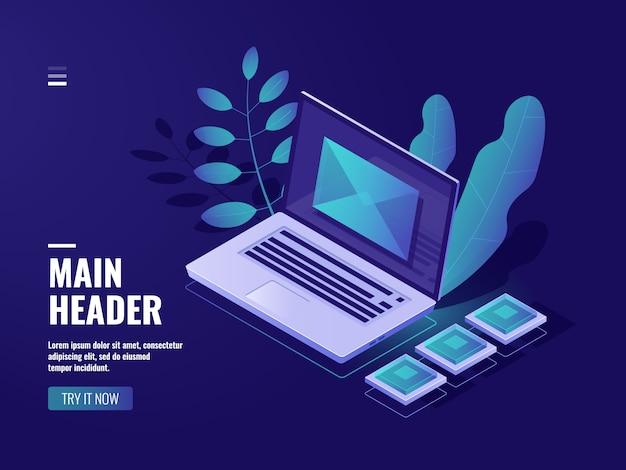Umhüllen sie auf dem bildschirm einen laptop, ein feedbackkonzept, eine eingehende nachricht, eine benachrichtigungs-e-mail Kostenlosen Vektoren