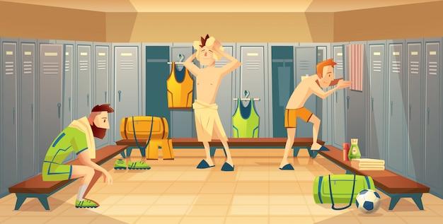 Umkleideraum mit fußballspielern, athleten. sportler nach dem training, schließfächer mit uniform Kostenlosen Vektoren