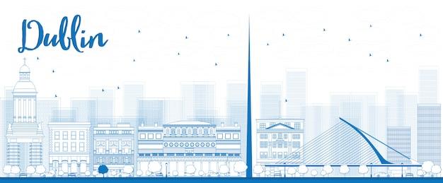 Umriss dublin skyline mit blauen gebäuden, irland Premium Vektoren