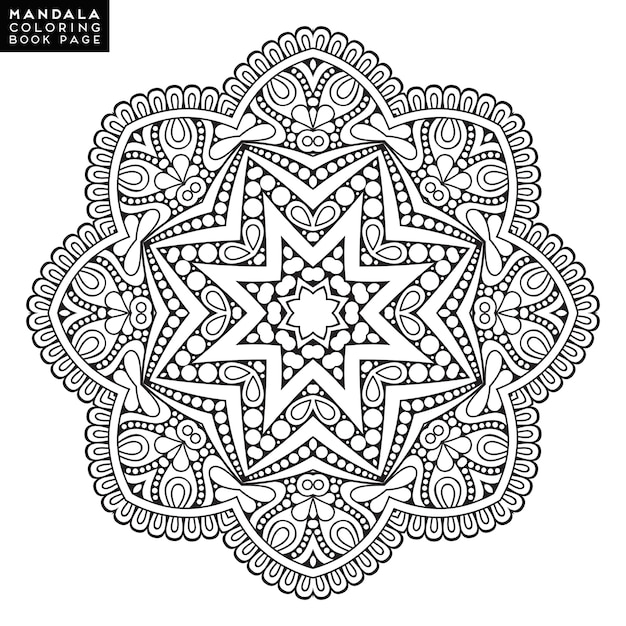 Umriss Mandala Fur Malbuch Dekorative Runde Verzierung
