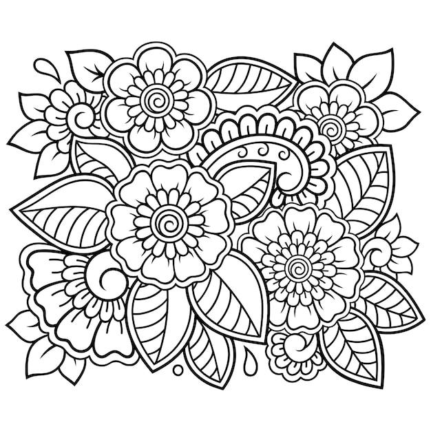 Umriss quadratisches blumenmuster im mehndi-stil für malbuchseite. gekritzelverzierung. handzeichnung illustration. Premium Vektoren