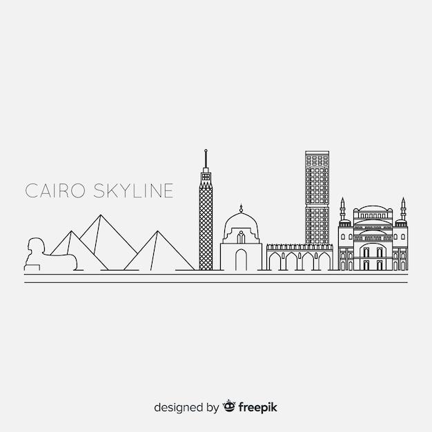Umrissene kairo-skyline in schwarzweiss Kostenlosen Vektoren