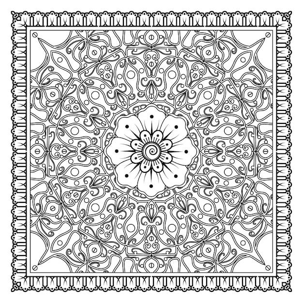 umrissquadrat im mehndistil dekorative verzierung im