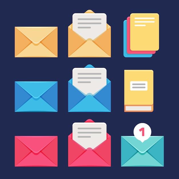 Umschlag-, e-mail- und buchstabe-vektorikonen. postkorrespondenz- und millimeter-symbole Premium Vektoren