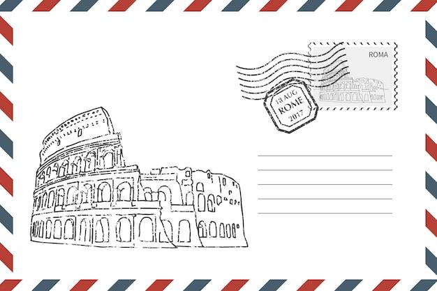 Umschlag mit hand gezeichnetem kolosseum Premium Vektoren