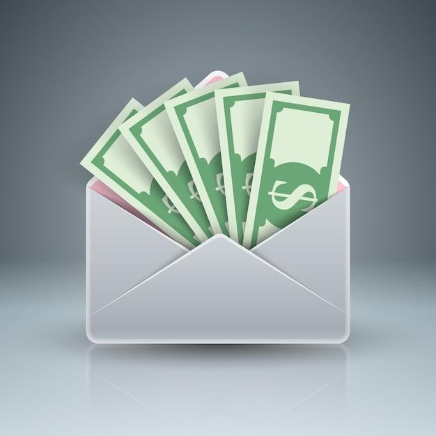 Umschlag, post, e-mail, bestechungsgeld-dollar-symbol Premium Vektoren